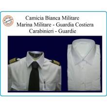 Camicia Bianca Manica Lunga  Modello Militare Con Spalline Marina Carabinieri Guardie Mil Tec Art.10931007