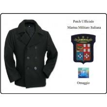 Giacca Giaccone Cappotto Marina Marinaio Vintage Navy Pea Coat Marine Army Nero Bottoni Neri + Patch Ricamata Logo Marina Militare Italiana Originale Art.CAP-MAR-4