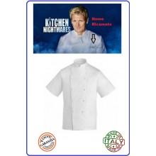 Casacca Giacca Cuoco Chef Professionale Manica Corta Bianca Personalizzabile con Ricamo Art.10CGI03