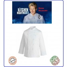 Casacca Giacca Cuoco Chef Professionale Manica Lunga Bianca Personalizzabile con Ricamo Art.10CGI
