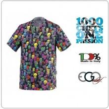 Casacca Leonardo Medicale Tesci Colorati Skulls  Medico Infermiere Dentista Ego Chef italia Art.5500135A