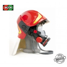 Casco Elmo Protettivo Intervento Vigili Del Fuoco Sicor Italia Rosso VFR 2009-PRO Scermo Oculare e Dorato Capo Squadra Art.5425500401