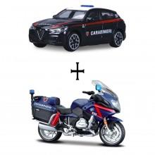 Modellino Burago diecast in scala 1: 43 Carabinieri Alfa Romeo + Moto BMW R Prodotto Ufficiale Collezionismo Idea Regalo CC.390624GBM