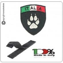 Patch Scudetto Ricamo a Macchina Con Velcro Italia + Zampa Cinofila Cinofili carabinieri Polizia G. di F.  Art.NSD-IT-CIN