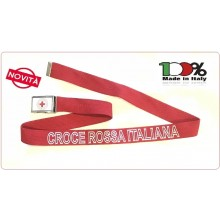 Cintura Canapa Rossa Croce Rossa Italiana Rossa Nuovo Capitolato Vetrificata con Ricamo tessuto CRI Novità 2018 Art.CIN-CRI