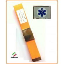 Cintura Canapa Arancio Fluò Croce Esculappio Soccorritori Vetrificata Art.CIN-25