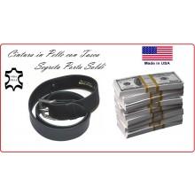 Cintura in Cuoio con Cerniera Portasoldi Porta Soldi Viaggio Sicuro Prodotto Americano Art.243608