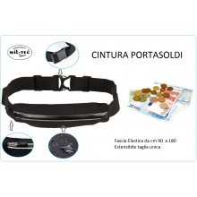 Cintura Porta Soldi Portasoldi Money Belt Lycra® Denaro Cintura Colore Nero MILTEC Art.15860202