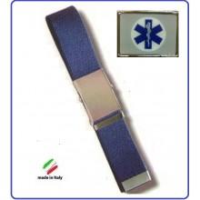 Cintura Canapa Blu Soccorso Sanitario 118 Croce Esculappio  Vetrificato  Art.CIN-22