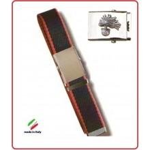 Cintura Canapa Bicolor  Con Placca In Rilievo Carabinieri Fiamma Argento  Art.CIN-13