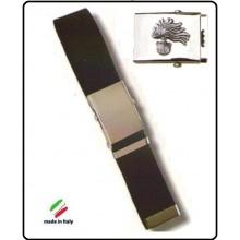 Cintura Canapa Nera Con Placca In Rilievo Carabinieri Fiamma Argento  Art.CIN-11