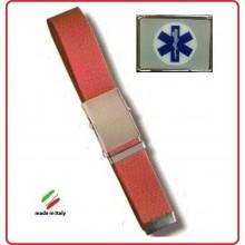 Cintura Canapa Rossa Soccorso Sanitario Croce Esculappio  Vetrificato Art.CIN-49
