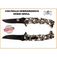 Coltello Serramanico con Rompivetro + Teschio  Serie Skull Teschi Panna INC 101 Art.457402