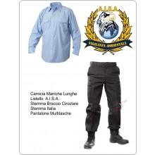 Divisa Camicia Azzurra Manica Lunga + Pantaloni Multitasche Blu Nevy + Toppa Tonda e Rettangolare A.I.S.A. Art.NSD-DAISA