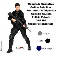 Completo Operativo Ordine Pubblico Tuta Operativa Giacca + Pantaloni BLU NAVY GRIGIO NERO Per Vigilanza e Volontariato  Guardie Giurate GPG IPS Art.OP-COM-NSD
