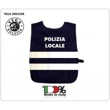 Corpetto Fratino Gabardina  Blu Con Stampa POLIZIA LOCALE  e Bande Rifrangenti  Vega Holster Italia Art.AP4-PL