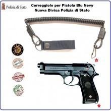 Correggiolo a Nastro per Pistola Passante In Cordura con Finali Termofusi Vega Holster Italia Blu Navy Nuova Divisa Polizia di Stato Art.2V20B