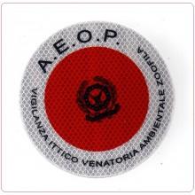 Adesivo 3M Per Paletta Rosso A.E.O.P. Associazione Europea Operatori di Polizia Vigilanza Ittico Venatoria Art.R-AROP-VIV