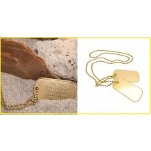 Piastrine Militari Americane US Originali Colore Oro Dog Tags Kit Neutre Art.27473