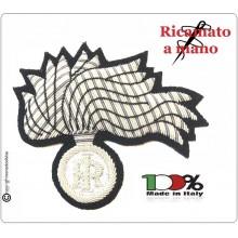 Fregio Fiamma 13 Punte Canottiglia Carabinieri CC 112 Bombato Argento NUOVO MODELLO RIFORMA GRADI Art.FIAMMA-NEW-A