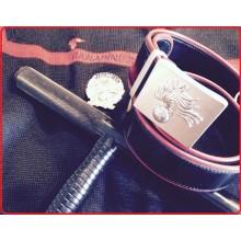 Cintura Cuoi Bordi Rossi Carabinieri CC Con Fibbia a Rilievo Fregio Metallo Art.CC028