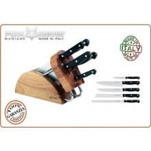 Ceppo da Cucina Tranciato Fox Knives 5 Coltelli Professionali + Ceppo Fox Italia Maniago Art.3016