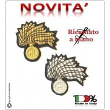 Fregio Fiamma 13 Punte Canottiglia Basco misura cm 5x5 Carabinieri CC 112 Bombato Oro NUOVO MODELLO RIFORMA GRADI Art.FREGIO-BASCO-CC
