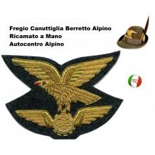 FregioCanuttiglia  Autocentro Alpino Dorato Ricamato a Mano Art.NSD-Alpini-A
