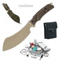 Coltello Lama Fissa Militare Sopravvivenza FOX Panabas Coyote Tan Survival Kit Fox Maniago Italia Art. FX-509CT