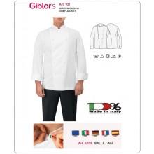 Giacca Mario Bianca Cuoco Chef Giblor's Possibilità Personalizzazione sul Petto Ricamata Art. 101