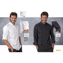 La Giacca Cuoco Chef Alex Bianca Profili Neri  Siggi Horeca Personalizzata con Nome Ricamato Art.28GA0191B