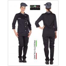 Giacca Cuoco Chef Sartoriale Donna  Danimrca Nero Grigio Militare Pangea Personalizzata con Nome Ricamato Art.DN0204