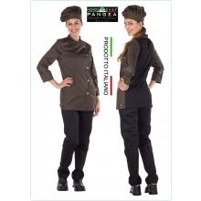 Giacca Cuoco Chef Sartoriale Donna  Danimrca Verde Militare Pangea Personalizzata con Nome Ricamato Art.DN0703