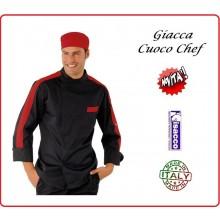 Giacca Cuoco Chef Manhattan Nero Rifinitura Rossa Isacco Art.059507