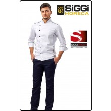 Giacca Cuoco Chef ADRIAN Profili Neri Bottoni Blu Siggi Horeca Personalizzata con il Tuo Nome Ricamato Art.28GA0193B