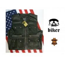 Gilet Biker Pelle Tipo Harley Davidson Ottimo per Patch HD Shadow Guzzi Triuph Vera Pelle  Art. 01068