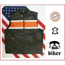 Gilet Biker Pelle Pieno Fiore Tipo Harley Davidson Guzzi Shadow Triuph Vera Pelle Art.01067