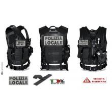 Tactical Vest Gilet Tattico Modulare Corpetto Tattico Mil-Tec Nero con Ricami Rifrangenti Alta Visibilità POLIZIA LOCALE VENDITA RISERVATA Art.10720002-XXX
