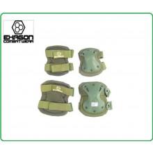 Ginocchiere + Gomitiere Set Protezioni Gomiti e Ginocchio Professionali Militari Soft Air Caccia Verdi OD  Art.EX-PA3OD