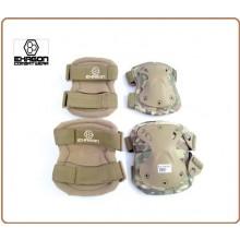 Ginocchiere + Gomitiere Set Protezioni Gomiti e Ginocchio Professionali Militari Soft Air Caccia Multicam Art.EX-PA3MC