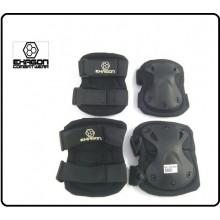 Ginocchiere + Gomitiere Set Protezioni Gomiti e Ginocchio Professionali Militari Soft Air Caccia NERE Art.EX-PA3BK