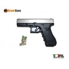 Pistola a Salve Starter per Gare Scacciacani 8mm Bruni Glock G17 Silver Bicolor Cromata Opaca Bruni Art.RP032315