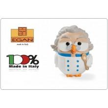 Gufo Gufetto Goofi Cuoco Chef  Idea Regalo o Bomboniera Collezione Porta Fortuna EGAN Prodotto e Dipinto a Mano in Italia Art.ML18GU/2GM