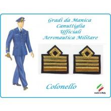 Coppia di Gradi Manica Canuttiglia Aeromnautica Militare Colonello Art.AERO-5