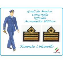 Coppia di Gradi Manica Canuttiglia Aeromnautica Militare Tenente Colonello Art.AERO-7