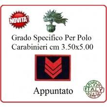Gradi New Polo Ordine Pubblico più Piccoli cm 3.50x5.00  Carabinieri con Velcro APPUNTATO Art.CC-P3