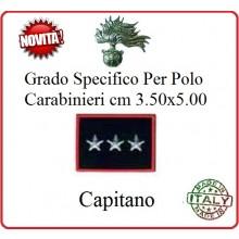 Gradi New Polo Ordine Pubblico più Piccoli cm 3.50x5.00  Carabinieri con Velcro CAPITANO Art.CC-P15