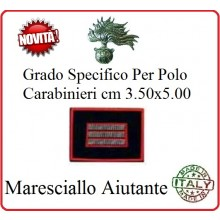 Gradi New Polo Ordine Pubblico più Piccoli cm 3.50x5.00  Carabinieri con Velcro MARESCIALLO AIUTANTE Art.CC-P12