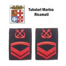 Gradi Tubolari Ricamati Marina Militare Italiana Nocchiere di Porto Sottocapo di 2 Classe  Art.MM-13