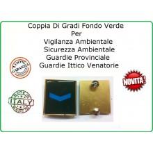 Coppia Gradi Guardie Giurate  Ittiche Venatoria Vigilanza Ambientale Provinciale Agente Scelto Azzurro Art.IT-3